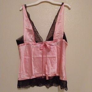 Victoria secret pink black lace lingerie top M